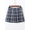 Plaid Printed Zipper Fly Mini Pleated Skirt