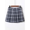 Plaid Printed Zipper Fly Mini Pleated Skirt
