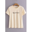 BUTTER Letter Printed Round Neck Short Sleeve Tee