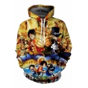 Cartoon Fire Character Printed Long Sleeve Oversize Hoodie