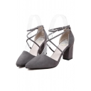 Elegant Design Strappy Ankle Tied High Block Heel Pointed Women's Shoes