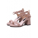 Summer Fashion Ankle Tied Detail Mid Block Heel Elegant Sandals Shoes