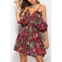 Stylish Leaf Floral Print Off the Shoulder Mini A-line Summer Dress