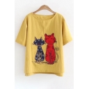 Stylish Cat Cartoon Embroidered Round Neck Short Sleeves Casual Tee