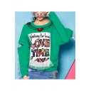 Stylish Letter Printed Sequined Chain Embellished Round Neck Long Sleeve Pullover Sweatshirt