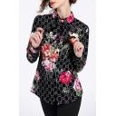 Retro Floral Bow Printed Lapel Collar Long Sleeve Slim Shirt