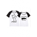 Color Block Raglan Short Sleeve Round Neck Cat Fish Bone Letter Printed Tee for Couple