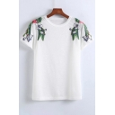 Hot Style Floral Embroidery Round Neck Short Sleeves Casual Tee