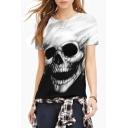 Gothic Monochrome Skull Print Round Neck Short Sleeves Unisex Tee