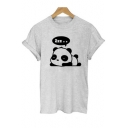 Cute Panda Cartoon Letter Print Round Neck Short Sleeves Casual Tee