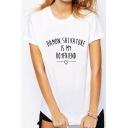 Stylish BOYFRIEND Letter Graphic Print Round Neck Short Sleeves Summer T-shirt