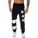 Gym Fashion Star Print Color Block Drawstring Waist Loose Joggers