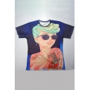 Stylish Cartoon Girl with Sunglasses Print Round Neck Short Sleeves Summer Tee