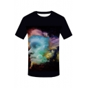 Digital Character Cloud Printed Round Neck Short Sleeve Tee
