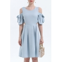 Elegant Plain Cold Shoulder Round Neck Short Sleeve Hollow Out Midi A-Line Dress