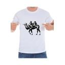 Pop Fashion Camel Print Round Neck Short Sleeves Summer T-shirt
