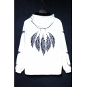 Fashionable Feather Printed Back Long Sleeve Zip Up Reflective Hooded Coat