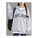 OAKLAND Letter Printed Leisure Long Sleeve Hoodie
