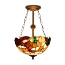 3 Light Tiffany Semi Flush Mount with Multicolored Glass Shade, 16