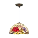 Multicolored Floral Pendant Light with Tiffany Art Glass Shade in Dome Shaped, 12