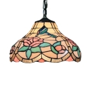 Classic Art Tiffany Pendant Light Hummingbirds and Floral Glass Shade in Multicolored Finish, 12
