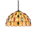 Multicolored Jewels Theme Tiffany Dome Glass Shade Living Room Hanging Lamp, 12
