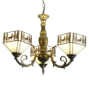 3-Head Coutrylife Deer Inverted Tiffany Glass Shade Chandelier in Antique Brass