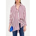 Striped Printed Lapel Collar Long Sleeve Buttons Down Tunic Shirt