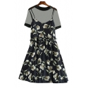 Two Pieces Floral Printed Round Neck Short Sleeve Mini A-Line Dress