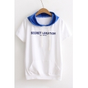 Color Block SECRET LOCATION Letter Printed Short Sleeve Hooded Tee