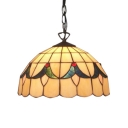 16-Inch Wide Tiffany Style Dome Glass Shade Hanging Lamp, Multicolored, 2 Light
