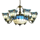 Baroque Style Tiffany Stained Glass Inverted Chandelier with Blue&White Checkered Center Bowl Shade