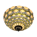 16-Inch Wide Tiffany Flush Mount Ceiling Light with Ripple Glass Shade, 2-Light