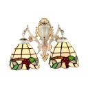 Tiffany-Style Double Light Wall Sconce with Grape Pattern Glass Shade, 16