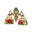 Gorgeous Tiffany Style 2 Light Double Wall Sconce Floral Stained Glass Shade in Brass Finish