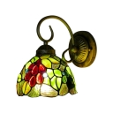 Tiffany Loft Wall Sconce with 6''W Fruit Pattern Glass Shade in Green&Red
