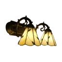 16-Inch Wide Tiffany Wall Sconce with Two Light, Leaf Theme Warm Orange Glass Shade