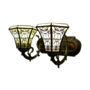 Vintage Tiffany Style Country Fence Design with 14-Inch Wide Inverted Shade Wall Sconce, 2 Light