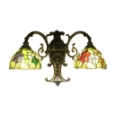 Tiffany Style Fruit and Leaves Dome Stained Glass Shade Hallway Wall Sconce
