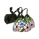 Flower&Leaves Tiffany Stained Glass Shade 2-Light Sconce with Belle Supported Lampbase