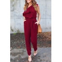 Holiday One Shoulder Ruffle Detail Tied Waist Slim Plain Jumpsuit
