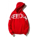 Simple FREEDOM Letter Printed Leisure Long Sleeve Hoodie