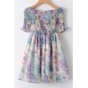 Elastic Off The Shoulder Half Sleeve Floral Printed Mini A-Line Dress