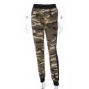 Mesh Insert Camouflage Printed Elastic Waist Pants