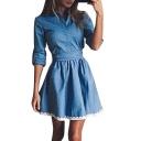 Lapel Long Sleeve Lace Trim Hem Plain Denim Mini A-line Dress
