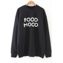 Food Mood Simple Letter Print Dropped Shoulder Pullover Sweatshirt