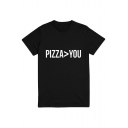 PIZZA>YOU Letter Print Round Neck Short Sleeve Tee