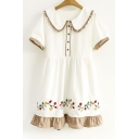 Childish Floral Embroidered Lapel Short Sleeve Button Front Ruffle Hem Mini A-line Dress