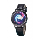 Chic Galaxy Moon Printed Leather Quartz Watch for Couple