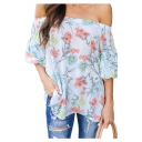 Chic Holiday Off The Shoulder Floral Printed Leisure Blouse